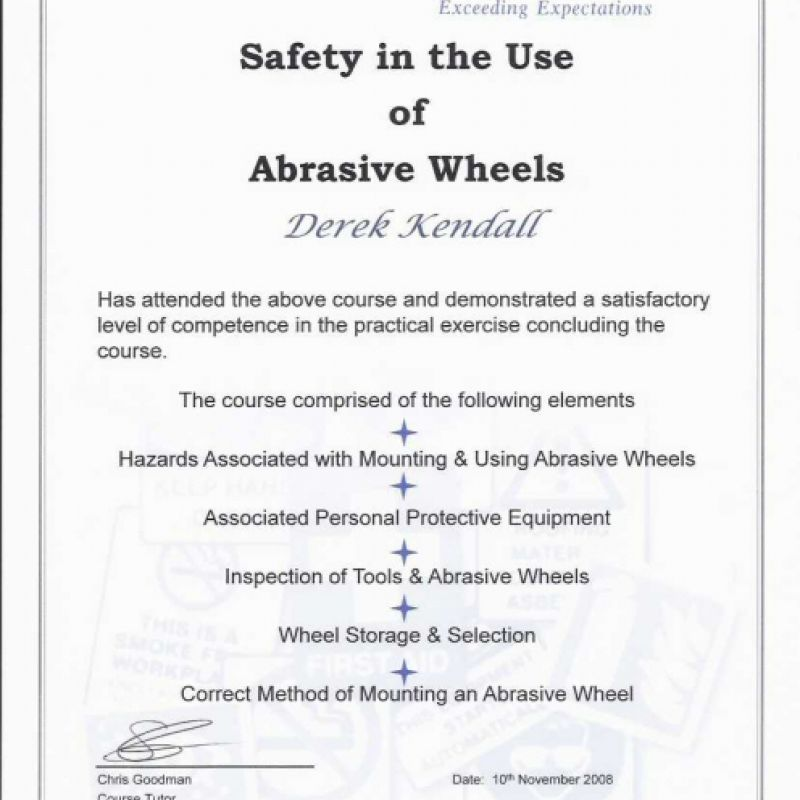 Safety In The Use Of Abrasive Wheels